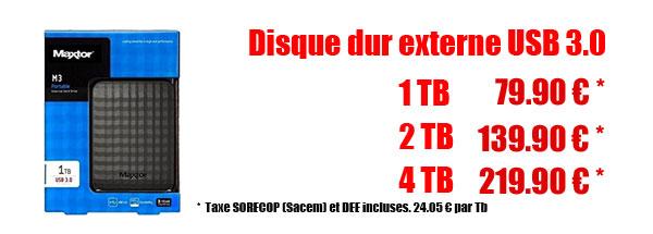 Promotion sur les disques dur externes de1 à 4T 2.5 en USB 3.0